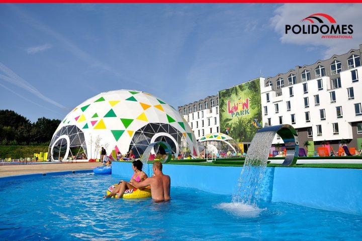 Large branded event tent for resort