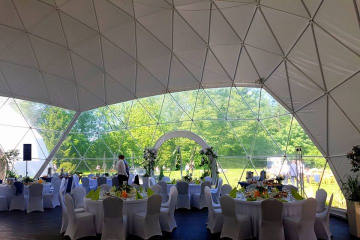Interior of the geodesic wedding tent