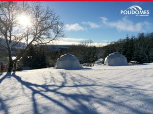 The Polidomes geodesic dome tents in winter time