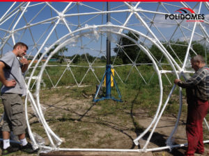 Geodesic dome tent assembly