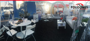 Transparent geodesic dome booth in OTC Houston