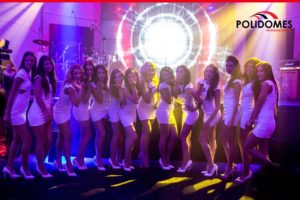 The Polidomes party tent with beautiful girls