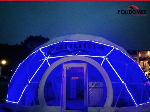 transprent Polidomes geodesic dome tent