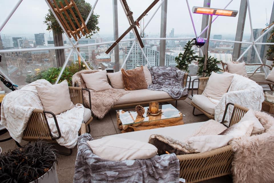 Rooftop snow globe interior