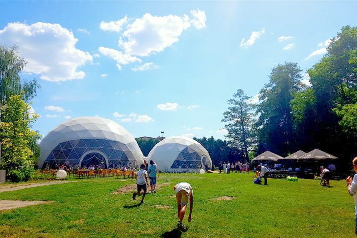 two large dome tents